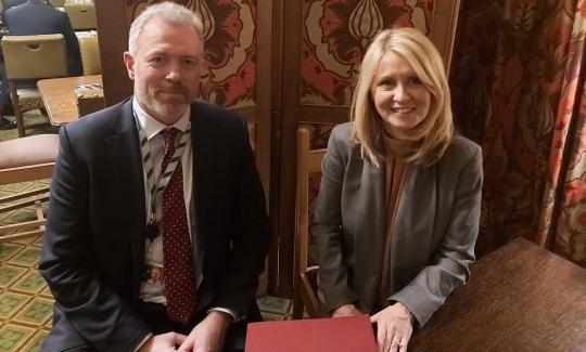 James Sunderland MP with Secretary of State for International Trade, Elizabeth Truss MP