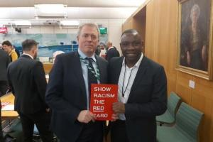 James Sunderland MP and Leroy Rosenior MBE at the 'Show Racism the Red Card' event in Westminster