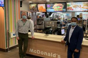 James Sunderland visits McDonalds after it reopens in Bracknell